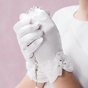 Emmerling White Bow Communion Gloves - Style 74012