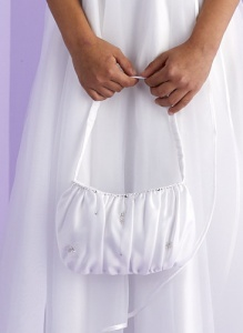 Girls White Pleated Satin Bag - Frances P149 by Peridot