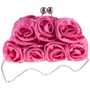 Girls Fuchsia Pink Diamante Satin Rose Clutch Bag