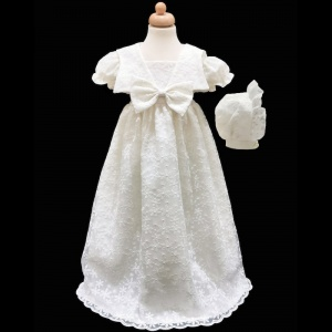 Baby Girls Ivory Bow Flower Lace Long Gown & Bonnet