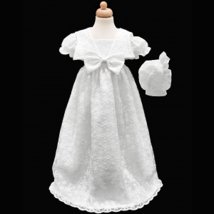 Baby Girls White Bow Flower Lace Long Gown & Bonnet