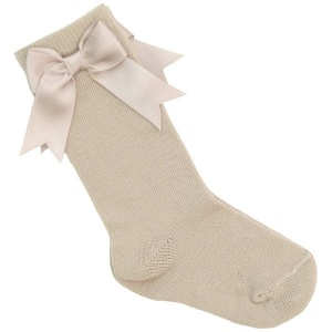 Girls Beige Knee Length Satin Bow Socks