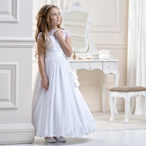 Girls White Lace Cotton Muslin Dress by Lacey Bell Style CD10
