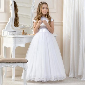 Girls White Lace & Tulle Bow Dress by Lacey Bell Style CD11