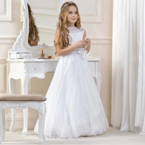 Girls Lace & Organza Dress by Lacey Bell Style CD12