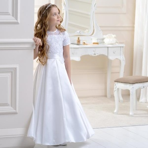 Girls Lace & Satin Dress by Lacey Bell Style CD15