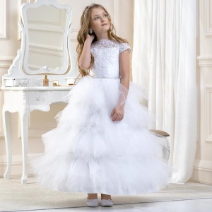 Girls White Lace & Tiered Tulle Dress by Lacey Bell Style CD16
