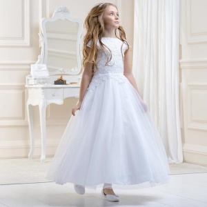 Girls White Floral Lace & Tulle Dress by Lacey Bell Style CD21