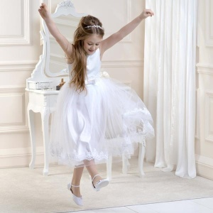 Girls Lace & Satin Tulle Dress by Lacey Bell Style CD6