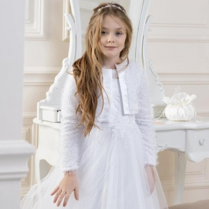 Girls Knitted Satin Trim Jacket by Lacey Bell Style CJ37