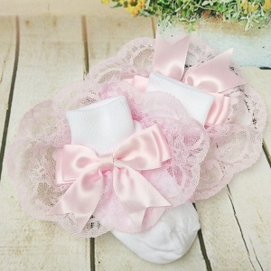 Girls White & Pink Large Satin Bow Lace Socks