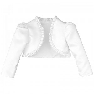 Girls White Satin Long Sleeved Frilly Bolero