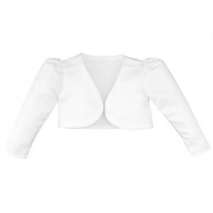 Girls White Satin Long Sleeved Bolero