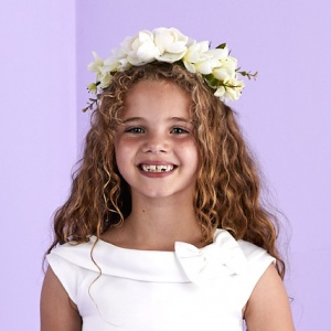 Girls Cream Flower Hair Wreath - May P164 by Peridot
