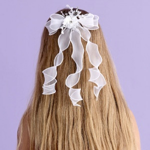Girls White Floral Hair Comb - Vivienne P107 by Peridot