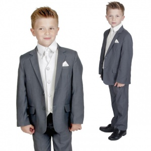 Boys Grey & Ivory 6 Piece Slim Fit Suit