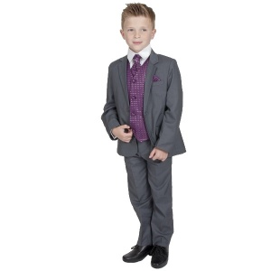Boys Grey & Purple 6 Piece Slim Fit Suit