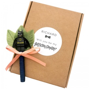 Groomsman Superhero Satin Buttonhole with Personalised Gift Box