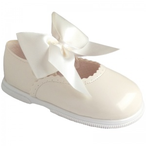 Girls Ivory Patent Large Satin Bow Special Occasion Shoes
