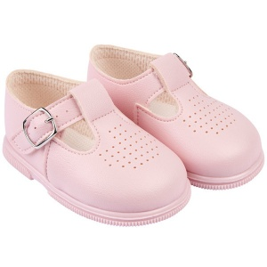 Girls Pink Matt T-bar First Walker Shoes