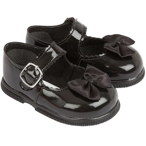 Girls Black Patent Satin Bow Special Occasion Shoes