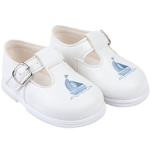 Boys White & Sky Blue Boat T-bar First Walker Shoes