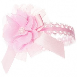Baby Girls Pink Lace Headband with Flower, Bow & Bead Motif