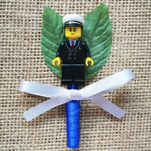 Boys Lego Captain Pilot Buttonhole with Satin Bow & Stem