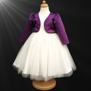 Girls Ivory Diamante Organza Dress with Purple Bolero Jacket