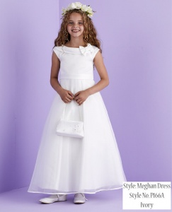Ivory Bow Collar Holy Communion Dress - Meghan P166A by Peridot