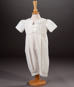 Baby Boys Cotton Christening Romper - Jude by Millie Grace