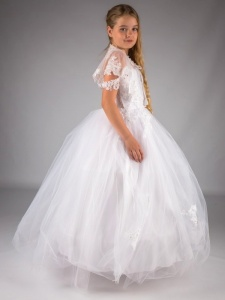 Girls White Embroidered Lace Tulle Hoop Dress & Cape