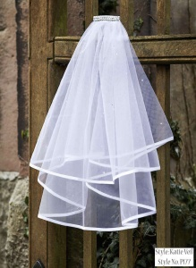 Girls White Two Tier Diamante Veil - Katie P177 by Peridot