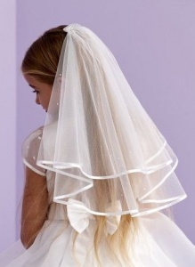 Girls Ivory Two Tier Diamante Veil - Katie P177A by Peridot
