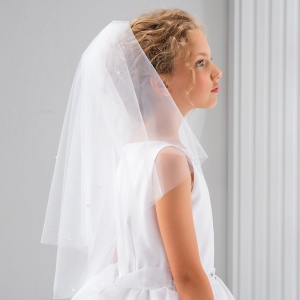 Girls Pearl Cut Edge Communion Veil by Lacey Bell Style CV93