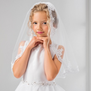 Girls Lace & Pearls Communion Veil by Lacey Bell Style LV21