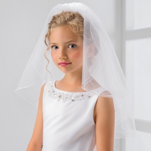 Girls Pearl Pencil Edge Communion Veil by Lacey Bell Style PV80