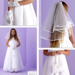 Lara White Communion Dress, Bag, Gloves & Veil - Peridot
