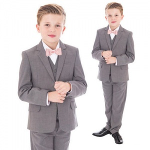 Boys Light Grey 5 Piece Bow Tie Suit