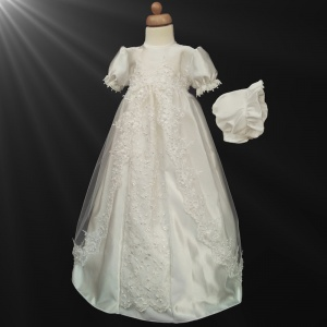 Baby Girls Ivory Luxury Embroidered Pearl Gown with Bonnet
