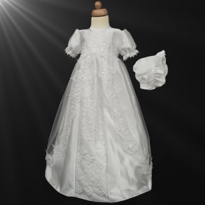 Baby Girls White Luxury Embroidered Pearl Gown with Bonnet
