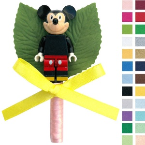 Boys Mickie Mouse Buttonhole with Satin Bow & Stem