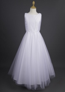 Millie Grace 'Cassidy' White Glitter Tulle Crystal Communion Dress