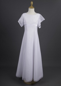 Millie Grace 'Ciara' White Fluted Lace Sleeve Communion Dress