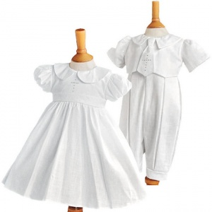 Millie Grace Twin White Christening Dress & Romper - Elizabeth & George