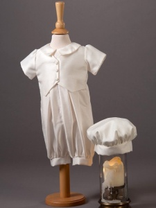 Baby Boys Dupion Romper & Hat - Ethan by Millie Grace