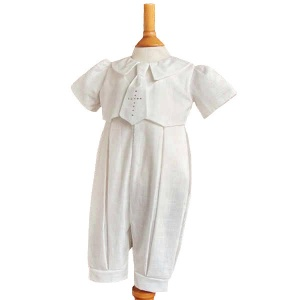 Baby Boys Ivory Christening Romper with Cross Tie - George by Millie Grace