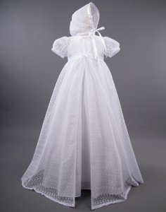 Millie Grace 'Lena' Cotton Gown with Long Lace Coat & Bonnet