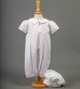 Baby Boys White Cotton Romper & Hat - Oliver by Millie Grace