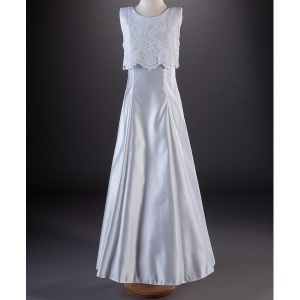 Millie Grace 'Candice' White Guipure Lace & Satin Communion Dress